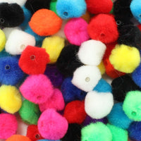 1 inch Multi Colored Pom Pom Beads 50 Pieces - artcovecrafts.com