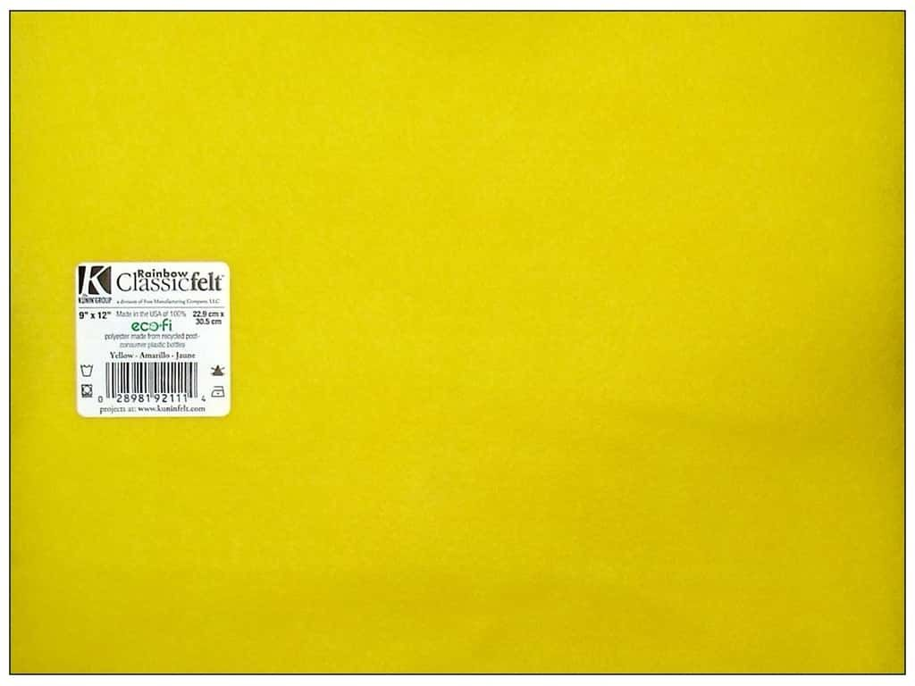 9 x 12 Inch Yellow Felt Square Sheet 1 Piece