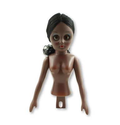 8 inch Plastic Craft Doll - Pillow Doll- Half Body Black Skin Black Hair 1 Piece - artcovecrafts.com
