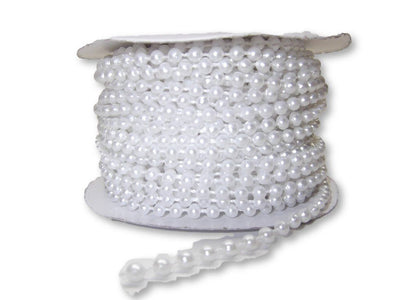 4mm White Plastic Fused Pearls Garland Strands for Decorating & Crafts 24 Yards - artcovecrafts.com