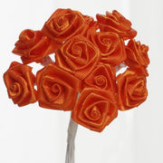 0.5 inch Orange Mini Satin Ribbon Roses 144 Pieces - artcovecrafts.com