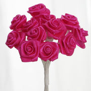 0.5 inch Fuchsia  Mini Satin Ribbon Roses 144 Pieces - artcovecrafts.com