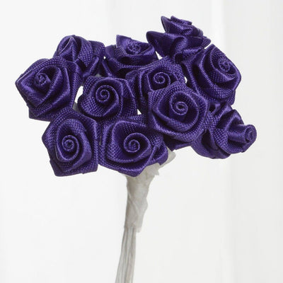 0.5 inch Purple Mini Satin Ribbon Roses 144 Pieces - artcovecrafts.com
