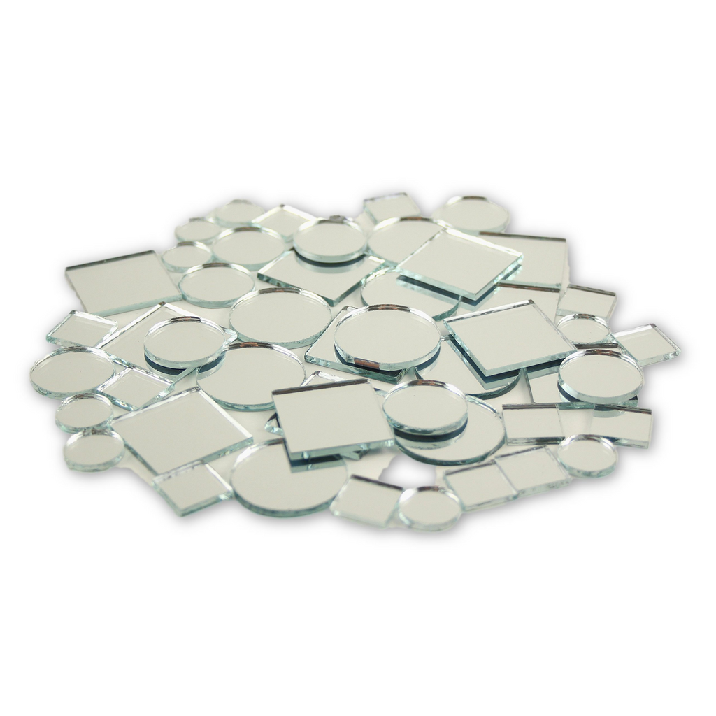 Small Mini  Square & Round Craft Mirrors Assorted Sizes Mirror Mosaic Tiles 1/2-1 inch 100 Pieces - artcovecrafts.com