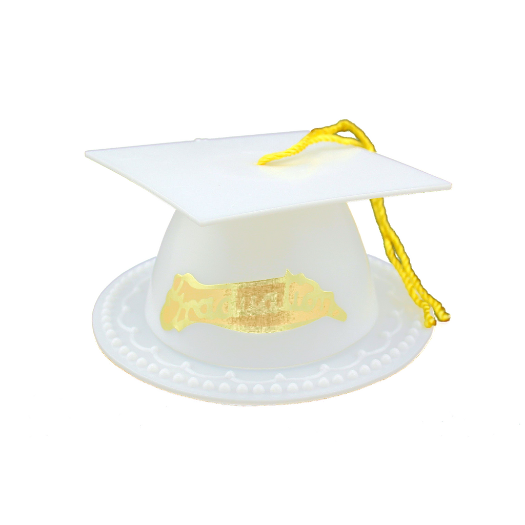 White Graduation Cap Favor Box 3.5 Inch Graduation Favor 12 Pieces - artcovecrafts.com