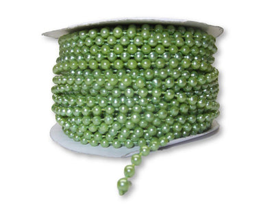4mm Apple Green Plastic Fused Pearls Garland Strands for Decorating & Crafts 24 Yards - artcovecrafts.com