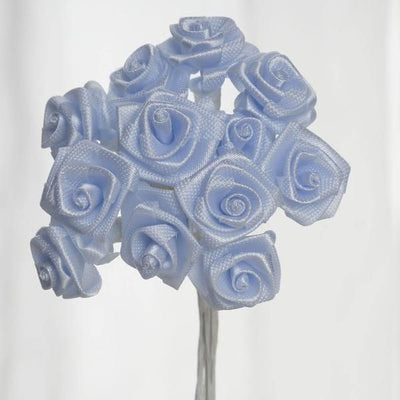 0.5 inch Light Blue Mini Satin Ribbon Roses 144 Pieces - artcovecrafts.com