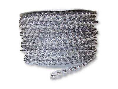 4mm Silver Plastic Fused Pearls Garland Strands for Decorating & Crafts 24 Yards - artcovecrafts.com