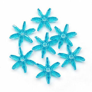 12mm Transparent Turquoise Starflake Beads 500 Pieces - artcovecrafts.com