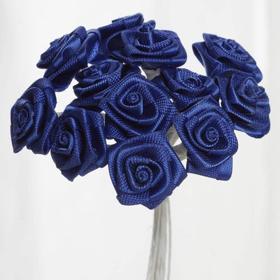 0.5 inch Royal Blue Mini Satin Ribbon Roses 144 Pieces - artcovecrafts.com