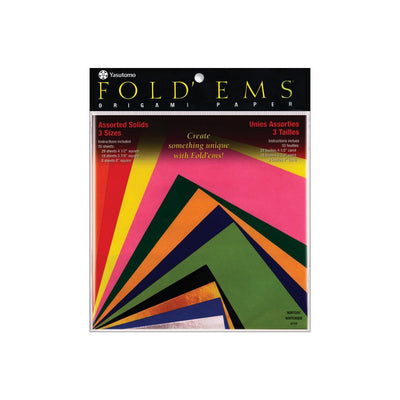 Fold 'Ems Solid Origami Paper Assorted Colors + Sizes 55 Sheets