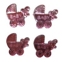 Pink Miniature Baby Carriage Acrylic Charms Capias 24 Pieces