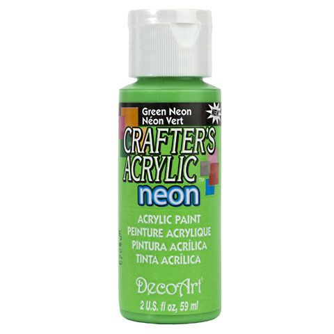 DecoArt Crafters Acrylic Paint-Neon Green 2 oz.