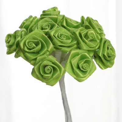 0.5 inch Apple Green  Mini Satin Ribbon Roses 144 Pieces - artcovecrafts.com