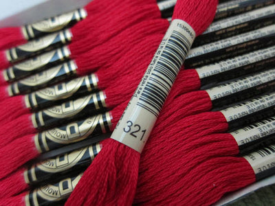 DMC 6 Strand Embroidery Floss Cotton Thread Bulk 321 Christmas Red 12 Skeins - artcovecrafts.com