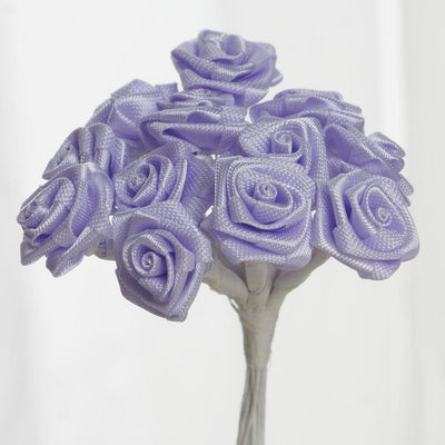 0.5 inch Lavender Mini Satin Ribbon Roses 144 Pieces - artcovecrafts.com
