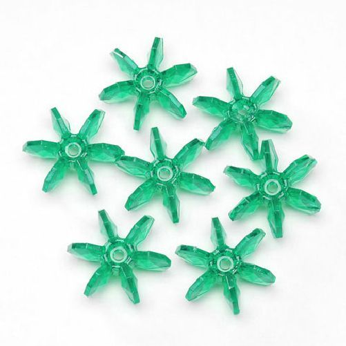 25mm Transparent Christmas Green Starflake Beads 144 Pieces - artcovecrafts.com