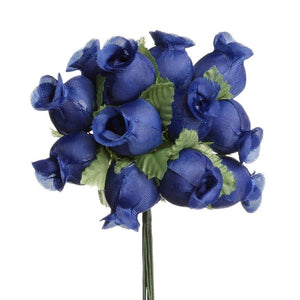 Royal Blue Mini Rose Buds 144 Pieces - artcovecrafts.com