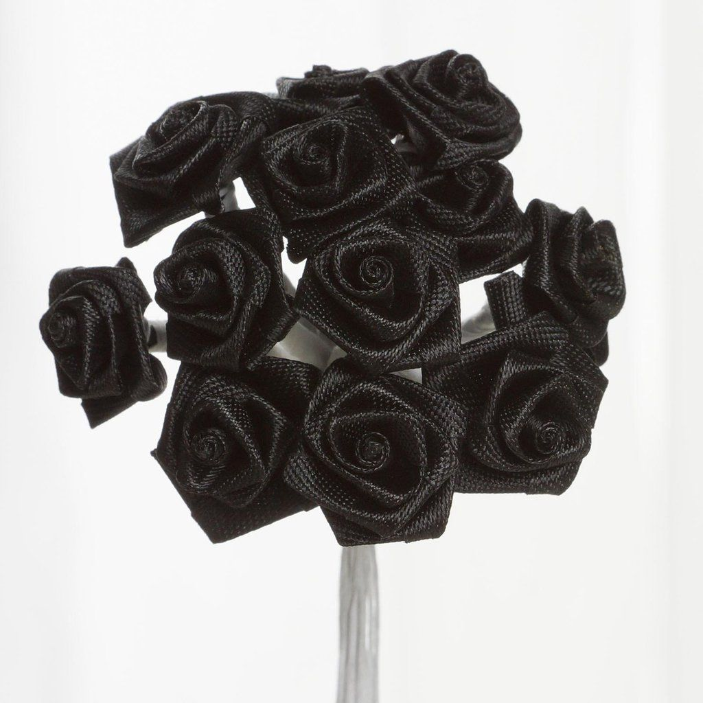0.5 inch Black Mini Satin Ribbon Roses 144 Pieces - artcovecrafts.com