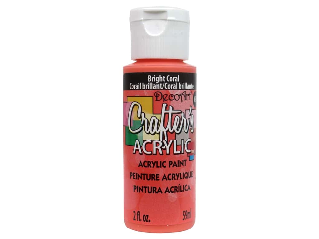 DecoArt Crafters Acrylic Paint- Bright Coral 2oz