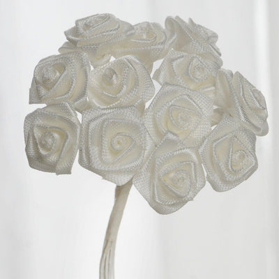 0.5 inch Ivory Mini Satin Ribbon Roses 144 Pieces - artcovecrafts.com