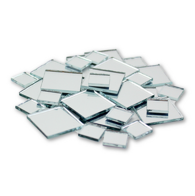 Small Mini Square Craft Mirrors 0.5 & 1 Inch 25 Pieces Mirror Mosaic Tiles - artcovecrafts.com