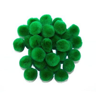 0.75 inch Kelly Green Mini Craft Pom Poms 100 Pieces - artcovecrafts.com