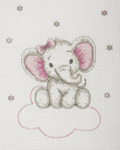 high on clouds above - Girl  counted cross stitch