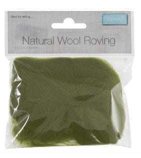 Natural Wool Roving 10g Lime 312