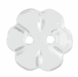 G455218\01: Six Petal Flower Clear Button: Shank: 18mm: Clear