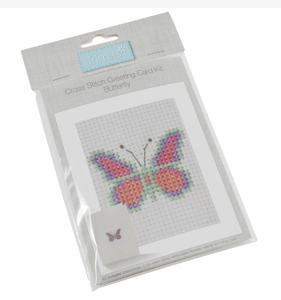 Cross Stitch greetings card Kit             Butterfly