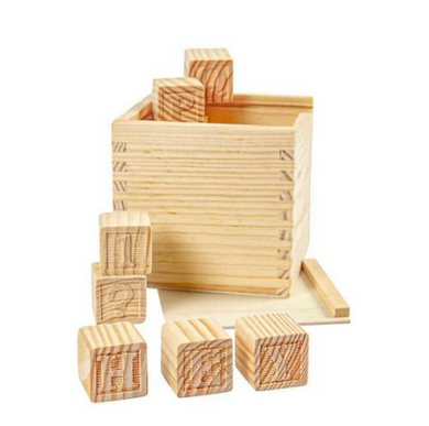 Wooden letter cubes. Boxed