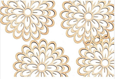 Wooden shapes filigree - flower. Pack 4