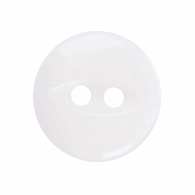 Polyester Fish Eye Button: 11mm: White G033918\101