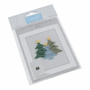 Cross stitch card christmas trees