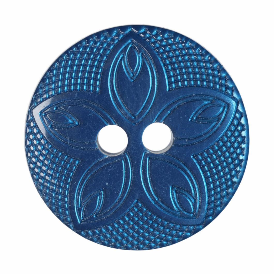 Etched Flower Button: 18mm: Navy G418528\19