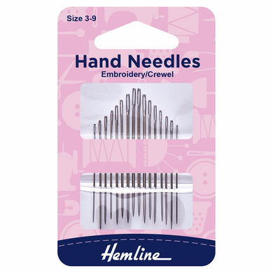 Hand Sewing Needles: Embroidery/Crewel: Size 3-9 Code: H200.39