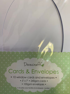 Dovecraft 10 Oval Window 5x7 Cards & Envelopes