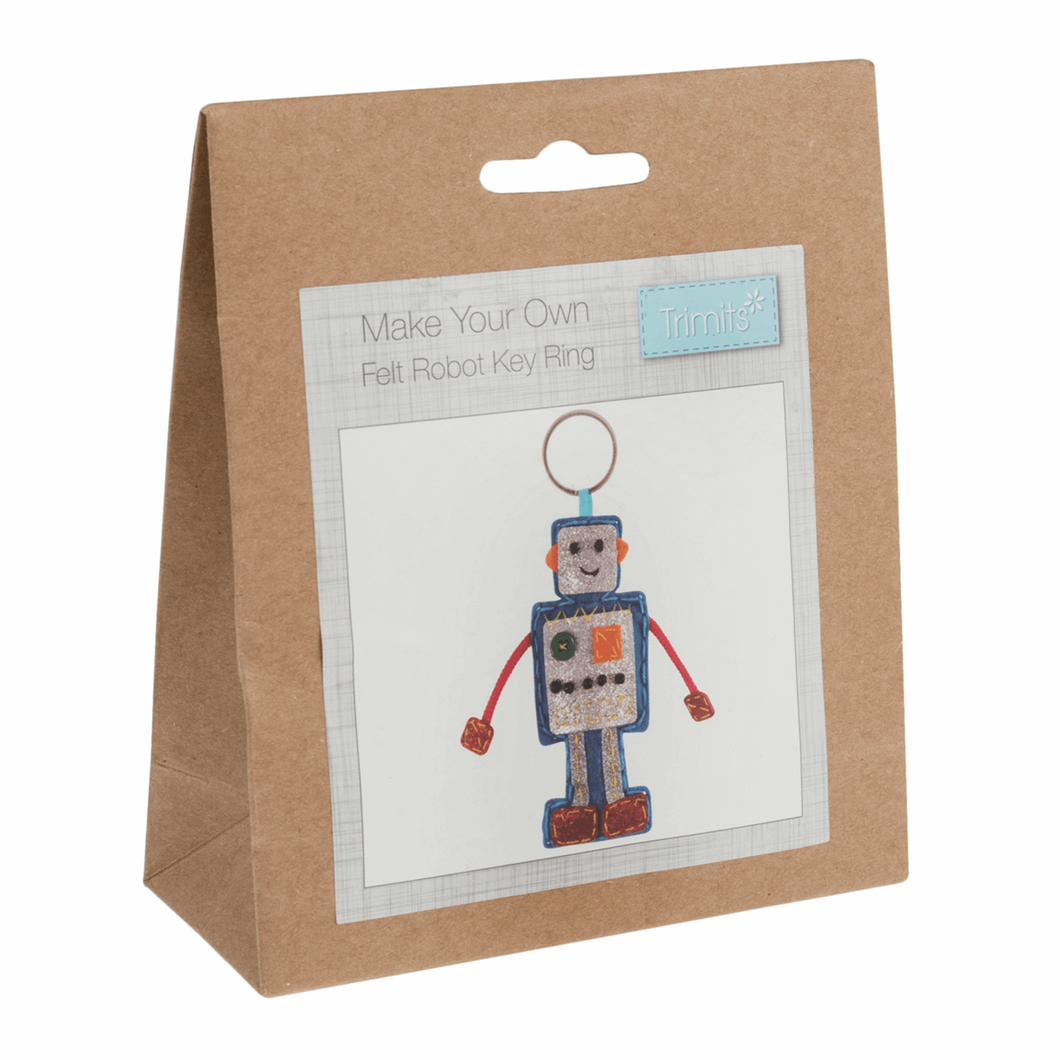 Make your own felt robot key ring