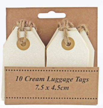 Luggage tags.  Cream. Pack 10