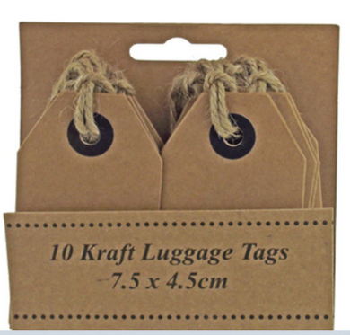 Luggage tags.  Brown kraft  pack 10