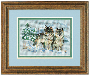 Mini Counted Cross Stitch: A Pair of Wolves