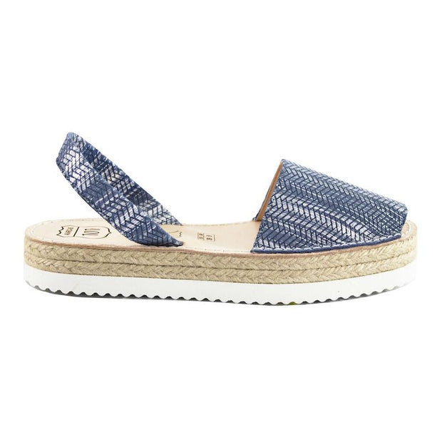 Avarcas Blue Textured Flatforms - Buy Avarca Sandals and Ethical Jewelry Online!