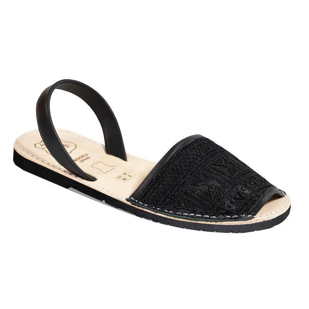 Avarcas 101 sandals for women Black Embroidery / US 4.5-5 / EU 35 sustainable shoes in the US