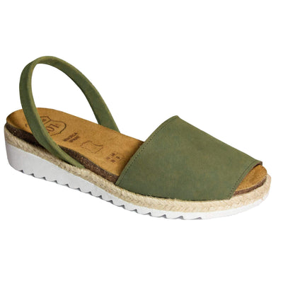Avarca Anatomic Wedges Dark Olive Green-Avarcas 101 comfortable leather sandals for women in the USA