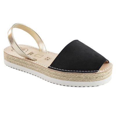 Avarcas Black Suede and Metallic Gold Flatforms-Avarcas 101