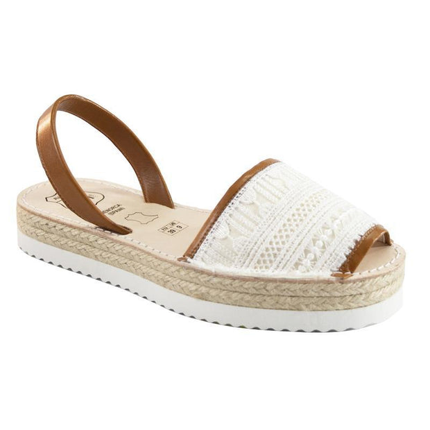 Avarcas 101 sandals for women White Embroidery / US 4.5-5 / EU 35 sustainable shoes in the US