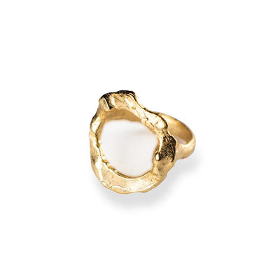 24K Gold Dipped Statement Ring for Women - Hoops Collection-[SLOW JEWELRY]-Avarcas 101