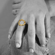 24K Gold Plated Statement Ring for Women - Hoops Collection - Buy Avarca Sandals and Ethical Jewelry Online!