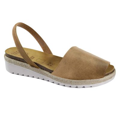 Avarca Anatomic Wedges Taupe-Avarcas 101 comfortable leather sandals for women in the USA